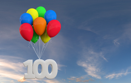 Number 100 party celebration. Number attached to a bunch of balloons. 3D Rendering