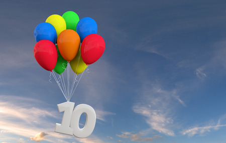 Number 10 party celebration. Number attached to a bunch of balloons. 3D Rendering