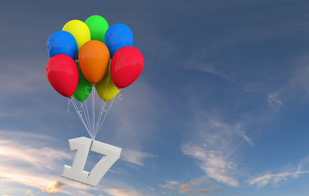 Number 17 party celebration. Number attached to a bunch of balloons. 3D Rendering