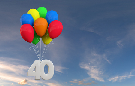 Number 40 party celebration. Number attached to a bunch of balloons. 3D Rendering