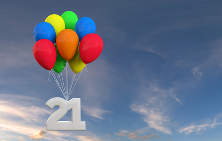 Number 21 party celebration. Number attached to a bunch of balloons. 3D Rendering Stock Photo