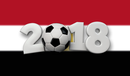 football 2018 concept. White text with soccer ball on a egypt flag background. 3D Rendering Stock Photo