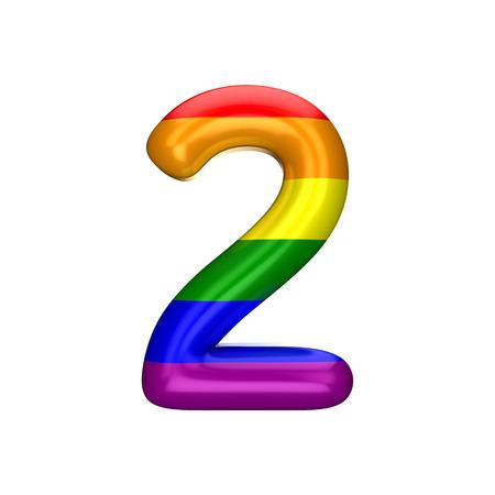 Number 2 gay pride rainbow flag alphabet. LGBT font. 3D Rendering