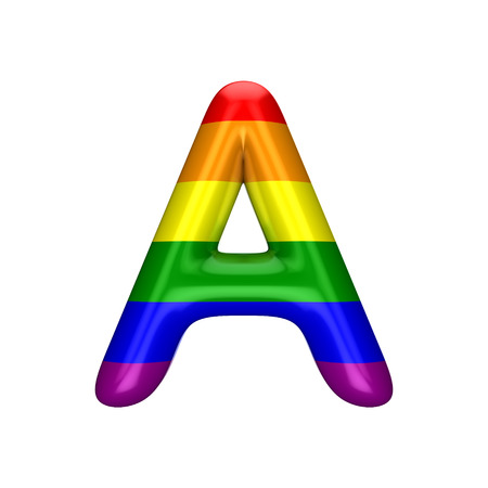 Letter A gay pride rainbow flag alphabet. LGBT font. 3D Rendering Stock Photo