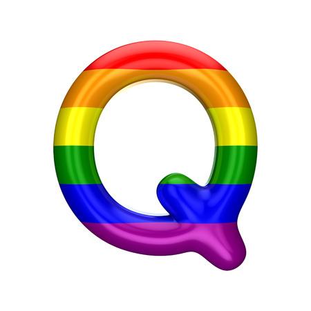 Letter Q gay pride rainbow flag alphabet. LGBT font. 3D Rendering