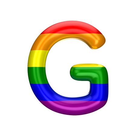 Letter G gay pride rainbow flag alphabet. LGBT font. 3D Rendering