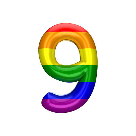 Number 9 gay pride rainbow flag alphabet. LGBT font. 3D Rendering