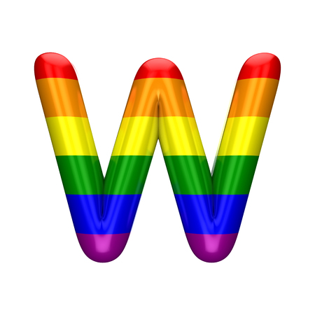 Letter W gay pride rainbow flag alphabet. LGBT font. 3D Rendering
