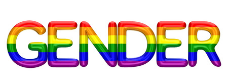 Gender word made from shiny LBGT gay pride rainbow letters. 3D Rendering Imagens - 101873598