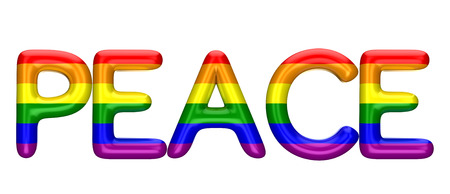 Peace word made from shiny LBGT gay pride rainbow letters. 3D Rendering Archivio Fotografico