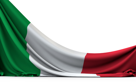 Italy national flag hanging fabric banner. 3D Rendering Banque d'images