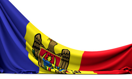 Moldova national flag hanging fabric banner. 3D Rendering