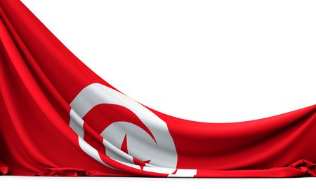 Tunisia national flag hanging fabric banner. 3D Rendering 版權商用圖片