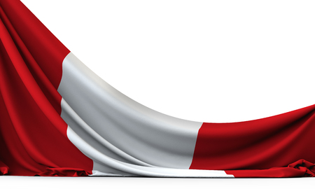 Peru national flag hanging fabric banner. 3D Rendering