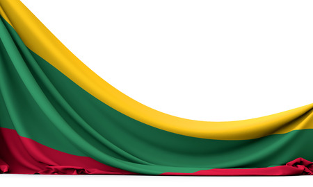 Lithuania national flag hanging fabric banner. 3D Rendering 版權商用圖片