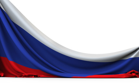 Russia national flag hanging fabric banner. 3D Rendering