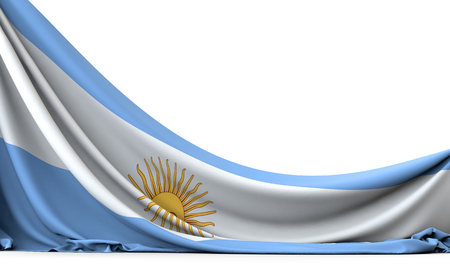 Argentina national flag hanging fabric banner. 3D Rendering Foto de archivo