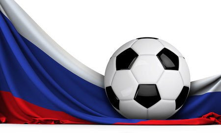 Soccer ball on the flag of Russia. Football background. 3D Rendering Stock Photo