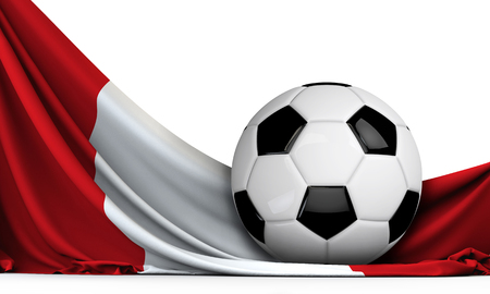 Soccer ball on the flag of Peru. Football background. 3D Rendering Stock Photo - 101874045