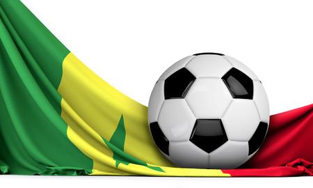 Soccer ball on the flag of Senegal. Football background. 3D Rendering Stock Photo