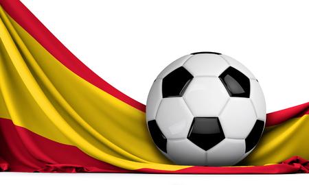 Soccer ball on the flag of Spain. Football background. 3D Rendering