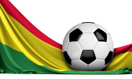 Soccer ball on the flag of Bolivia. Football background. 3D Rendering
