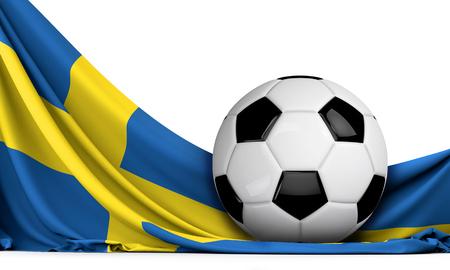 Soccer ball on the flag of Sweden. Football background. 3D Rendering Stock Photo