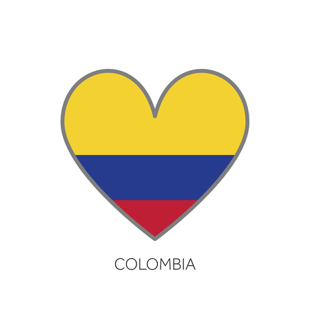 Colombia flag romance love heart shaped vector icon Vectores