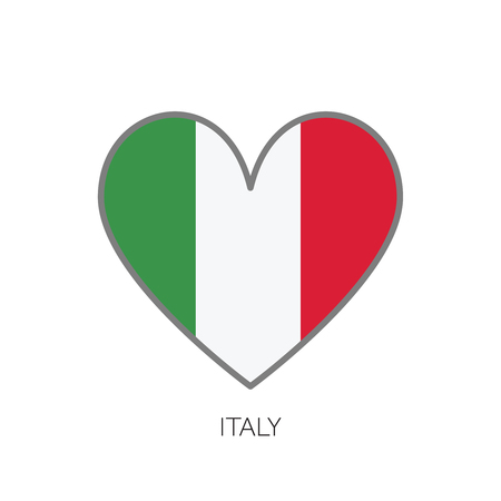 Italy flag romance love heart shaped vector icon