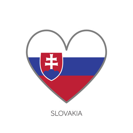 Slovakia flag romance love heart shaped vector icon
