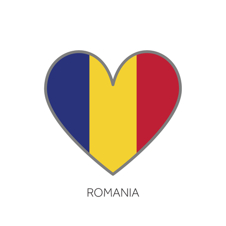 Romania flag romance love heart shaped vector icon