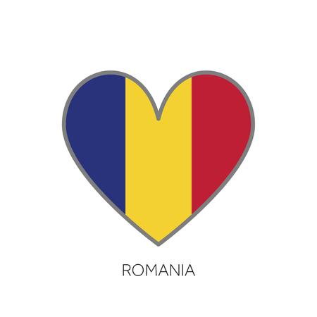 Romania flag romance love heart shaped vector icon Illustration