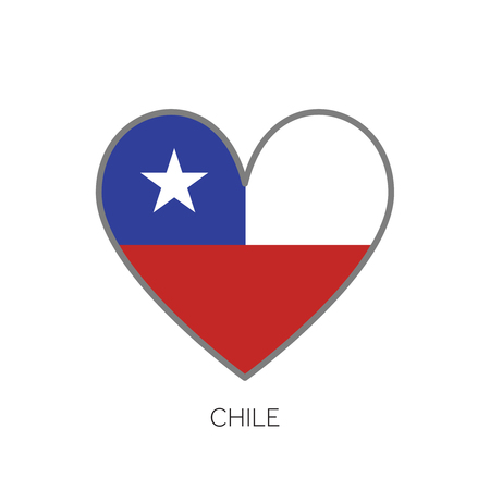 Chile flag romance love heart shaped vector icon