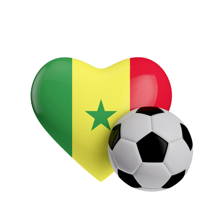 Senegal flag heart shape with a soccer ball. Love football. 3D Rendering