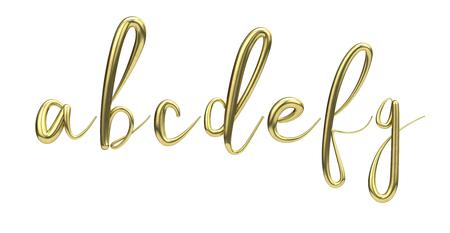 Lettes a, b, c, d, e, f, g, gold handwritten script font. 3D Rendering