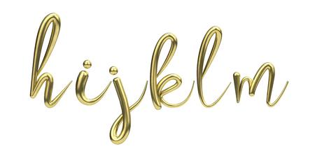 Lettes h, i, j, k, l, m, gold handwritten script font. 3D Rendering