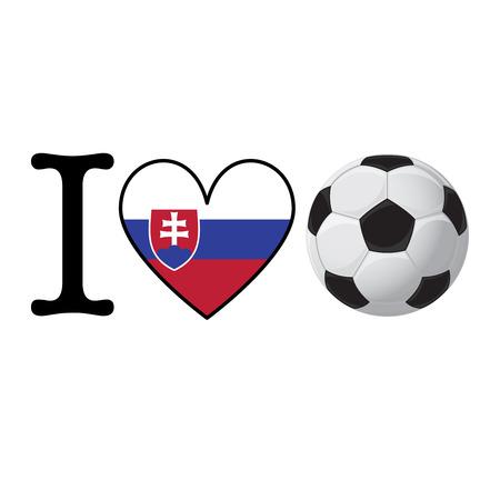 I heart Soccer banner with Slovakia flag. Love Football concept Stok Fotoğraf