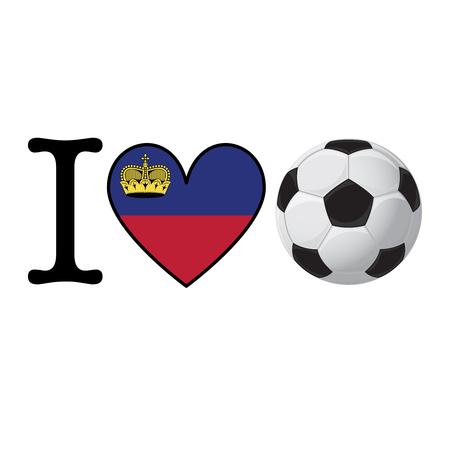 I heart Soccer banner with Liechtenstein flag. Love Football concept Stok Fotoğraf