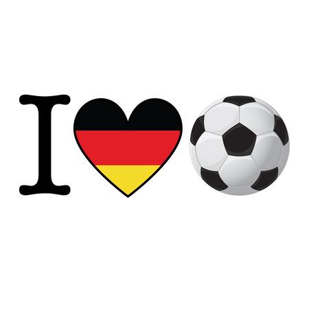I heart Soccer banner with Germany flag. Love Football concept Stok Fotoğraf