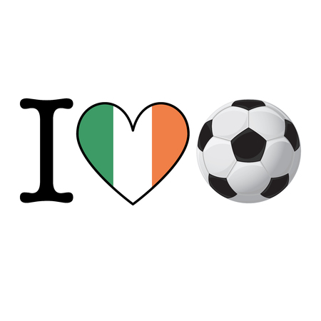 I heart Soccer banner with Ireland flag. Love Football concept Stok Fotoğraf