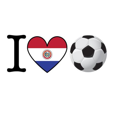 I heart Soccer banner with Paraguay flag. Love Football concept Stok Fotoğraf
