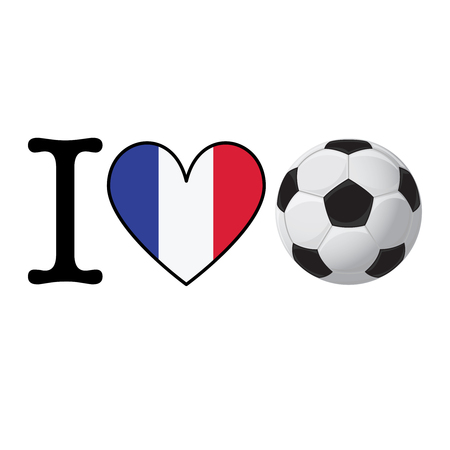 I heart Soccer banner with France flag. Love Football concept