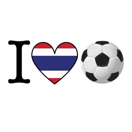 I heart Soccer banner with Thailand flag. Love Football concept