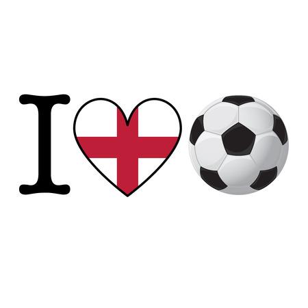 I heart Soccer banner with England flag. Love Football concept