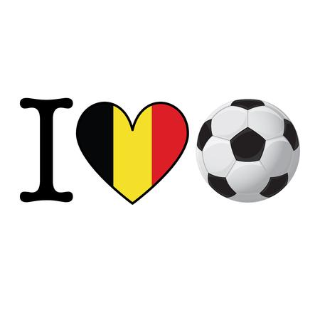 I heart Soccer banner with Belgium flag. Love Football concept Stok Fotoğraf