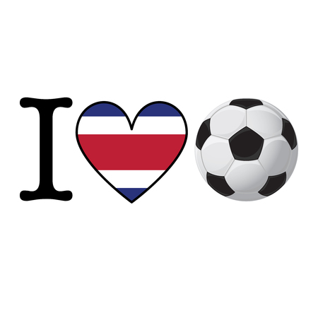 I heart Soccer banner with Costa Rica flag. Love Football concept Stock Photo