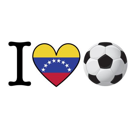 I heart Soccer banner with Venezuela flag. Love Football concept Stok Fotoğraf