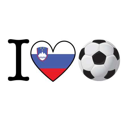 I heart Soccer banner with Slovenia flag. Love Football concept