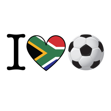 I heart Soccer banner with South Africa flag. Love Football concept
