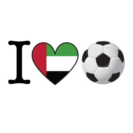 I heart Soccer banner with United Arab Emirates flag. Love Football concept Stok Fotoğraf